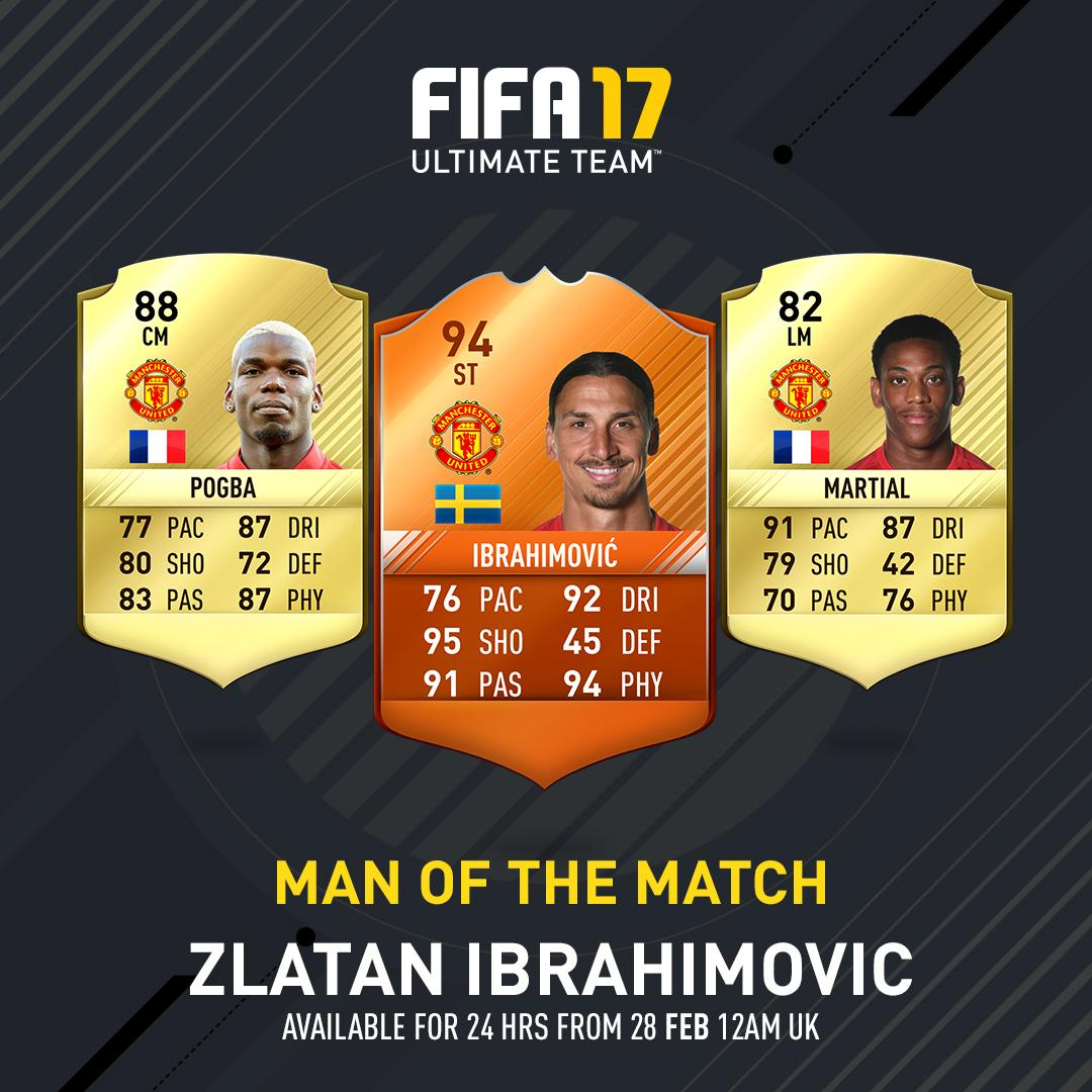 FIFA 17 Man of the Match for Manchester United